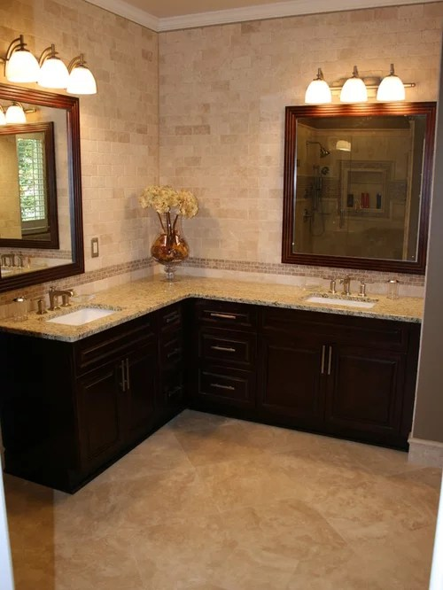 Corner Double Vanity Ideas Pictures Remodel and Decor