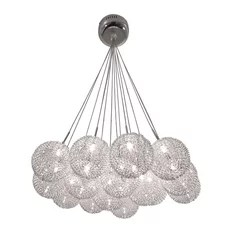 Bazz 15 Branch Chandelier Ball Shade Covered Of Metal Mesh Chrome Chandeliers