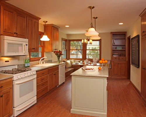 Pics For > Kitchen With White Appliances And Oak Cabinets