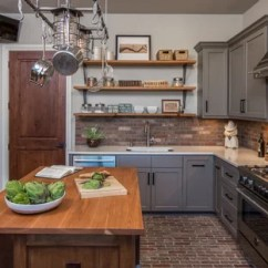 Gray Kitchen Floor Hammered Copper Backsplash Sherwin Williams Gauntlet Ideas Photos Houzz Large Transitional Enclosed L Shaped Brick And Brown