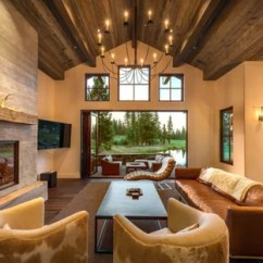 Corner Tv Living Room Ideas Throws Photos Houzz Example Of A Large Trendy Open Concept Dark Wood Floor Design In San Francisco