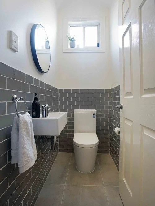 75 Most Popular Powder Room with Subway Tile Design Ideas