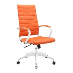 orange office chair algoma c frame hanging stand leather chairs houzz modway modern contemporary highback faux