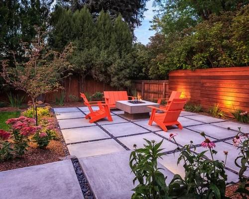 midcentury patio with concrete