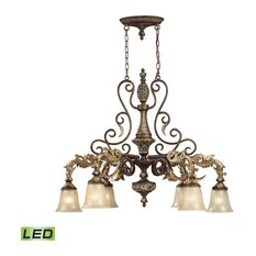 Elk Group International Downlight Crystal Chandelier With Ornate Bronzed Iron Scrollwork Led Chandeliers