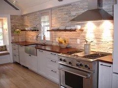 kitchen wood countertops catskill craftsmen island do need to match floor cozy gathering room with custom floating shelves more info