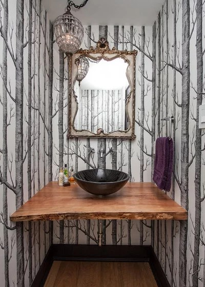 Contemporary Powder Room by Farrow Arcaro Design