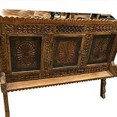 Mogul Interior - Consigned India Furniture Console Sideboard Classic Vastu Chakra Buffets - Brown patina manjoosh, deeply hand carved Kamasutra designs, wooden sideboard chest.
