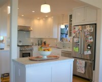 Frosty White Marble Transitional Kitchen