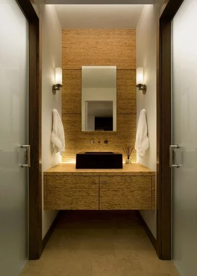 Contemporary Powder Room by 186 Lighting Design Group - Gregg Mackell