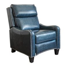 reclining chairs modern sams club 50 most popular recliner for 2019 houzz abbyson living elio top grain leather pushback navy
