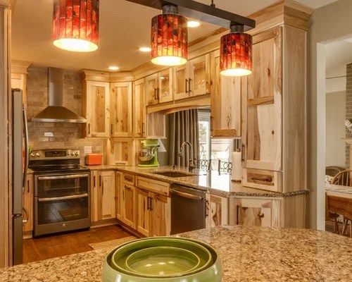 rustic kitchen island light fixtures under cabinet lighting hickory cabinets | houzz