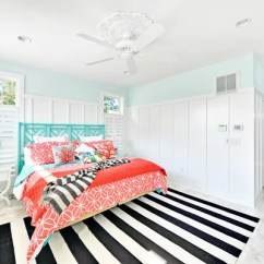 Striped Kitchen Rug Mirrors Turquoise And Coral | Houzz