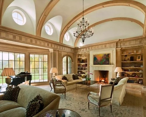 small living room ideas with brick fireplace modern curtains photos vaulted ceiling home design ideas, pictures ...