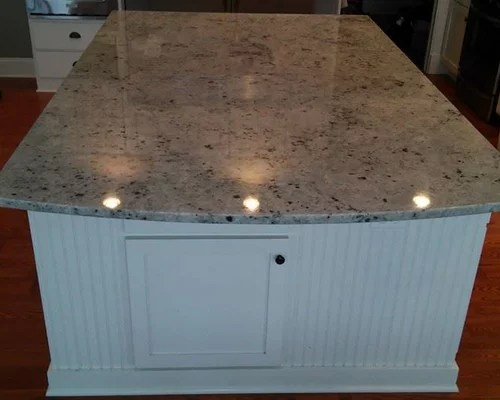 Mayfair White Granite Island With White Cabinets