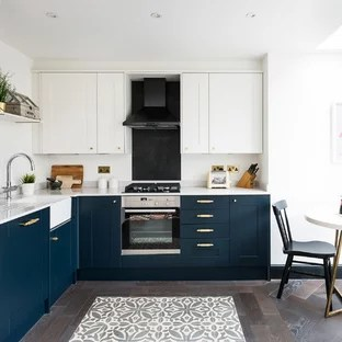 gold kitchen rooster statue for blue and ideas photos houzz mid sized transitional eat in inspiration a