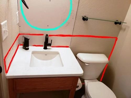 powder room tile backsplash