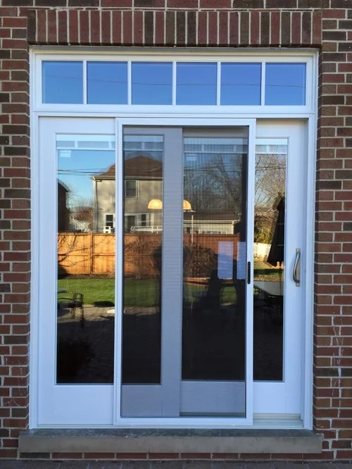 Andersen ESeries patio door installation with transom windows