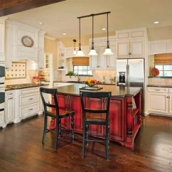 Red Kitchen Islands Stainless Steel Cart With Drawers Island Houzz Inspiration For A Timeless L Shaped Dark Wood Floor Remodel In Dallas Raised