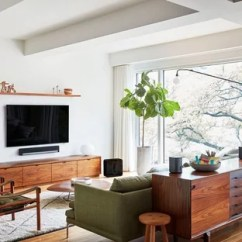 Living Room Mounted Tv Ideas Interior Design For My 75 Most Popular Midcentury Modern With A Wall Inspiration Mid Sized 1960s Open Concept And Formal Medium Tone Wood Floor