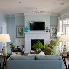 Living Room Fireplace And Tv Interior Design White Accessories Benjamin Moore Ocean Air | Houzz