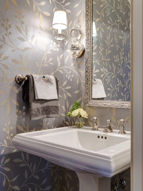 under mount kitchen sink banquet wallpaper powder room | houzz
