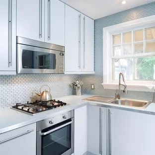 backsplash ideas for small kitchen food processor houzz contemporary example of a trendy l shaped black floor