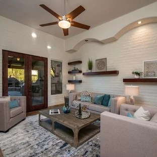 formal living room with brick fireplace hgtv design 75 most popular a ideas for inspiration mid sized contemporary and enclosed porcelain floor brown
