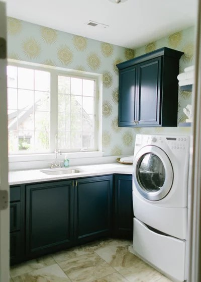 Transitional Laundry Room by House of Jade Interiors