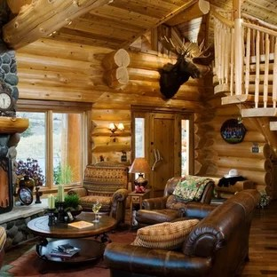 log cabin living room decorating ideas what size of rug for small photos houzz rustic idea in boise with a standard fireplace and stone