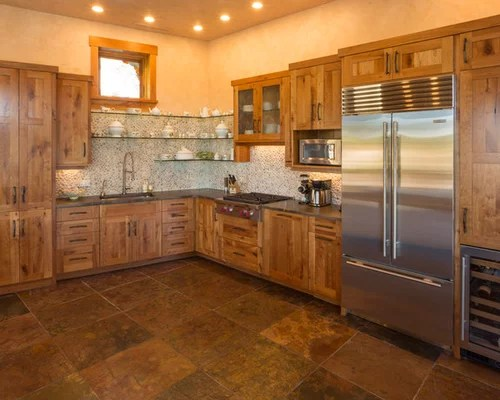 blue kitchen backsplash tile undercounter sink river rock | houzz