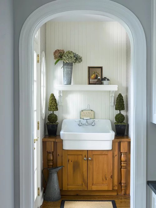 Farmhouse Powder Room Design Ideas Remodels  Photos