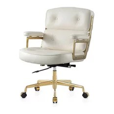 office chair gold green kitchen chairs 50 most popular for 2019 houzz lyndon aniline leather white
