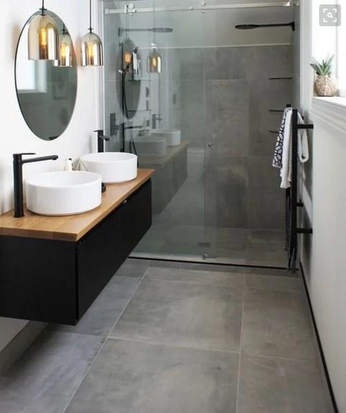 large format tiles on shower floor