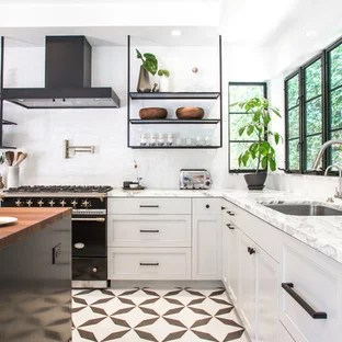 black and white tile kitchen glass tiles for backsplashes floor ideas photos houzz transitional pictures l shaped cement multicolored
