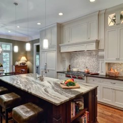 Brookhaven Kitchen Cabinets Calphalon Towels Terra Bianca Quartzite | Houzz