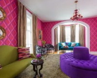 75 Pink Living Room with Multi-coloured Walls Design Ideas ...