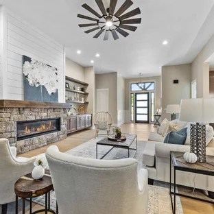 photo of living room design wood blinds 75 most popular ideas for 2019 stylish example a transitional open concept beige floor in portland with walls