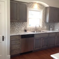 Hickory Kitchen Island Upper Cabinets With Glass Doors Distressed Grey Home Design Ideas, Pictures ...