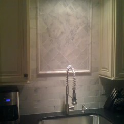 Gray Kitchen Backsplash Lantern Lights Over Island Carrera Marble | Houzz