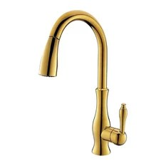 four hole kitchen faucets shelf above sink 4 houzz fontana showers moravia deck mounted faucet with pull down spray gold