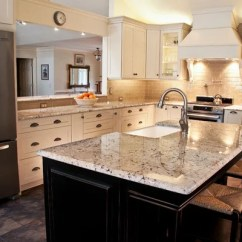 Cream Color Kitchen Cabinets Lowes Tiles White Galaxy Granite | Houzz