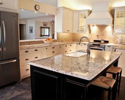 gray subway tile kitchen warehouse white galaxy granite | houzz
