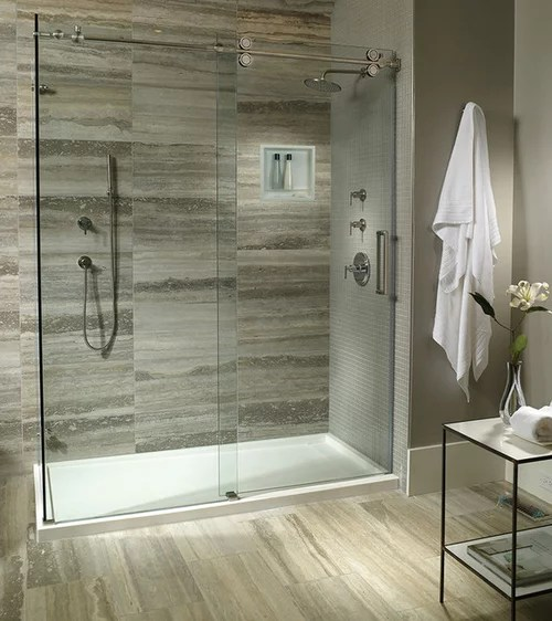 solid surface shower pan or tiled