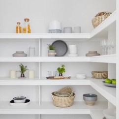 White Porcelain Undermount Kitchen Sink 3 Hole Faucet L-shaped Pantry Design Ideas, Renovations & Photos