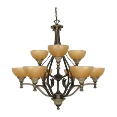 Satco Products Nuvo Rockport Tuscano Es 9 Light Chandelier With Glass Chandeliers
