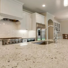 Gray Subway Tile Kitchen Newport Brass Faucet Colonial White Granite | Houzz