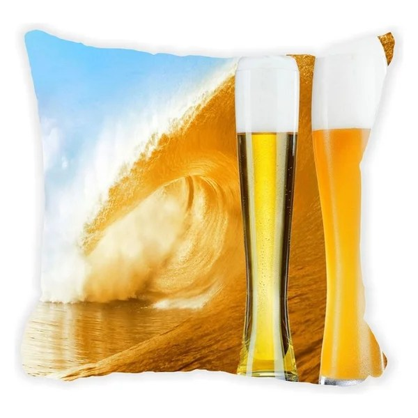Glasses of Beer on Beer Wave Microfiber Throw Pillow, With Fill
