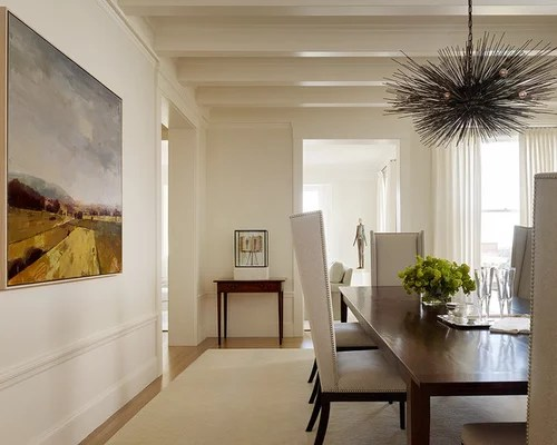 Dining Room Contemporary Medium Tone Wood Floor Idea In San Francisco With Beige