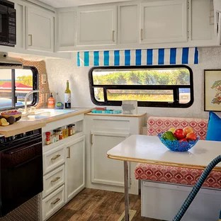 rv kitchen appliances console ideas photos houzz small eclectic eat in inspiration for a l shaped